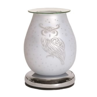 White Satin Owl Touch Sensitive Electric Wax Burner